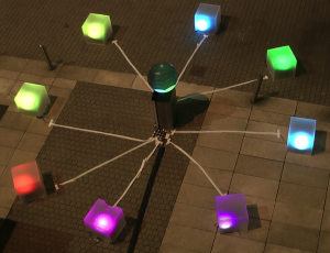 Each box can be controlled by interacting with the sphere.